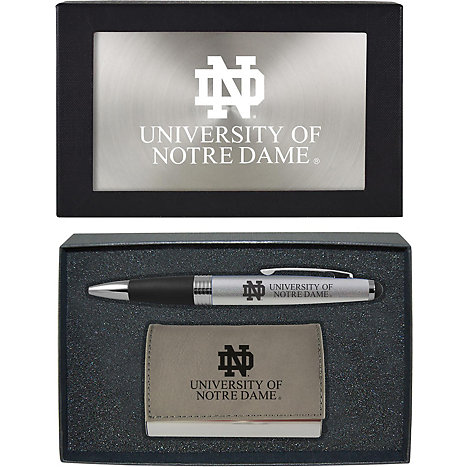 Lxg University Of Notre Dame Business Card Holder And Pen Set