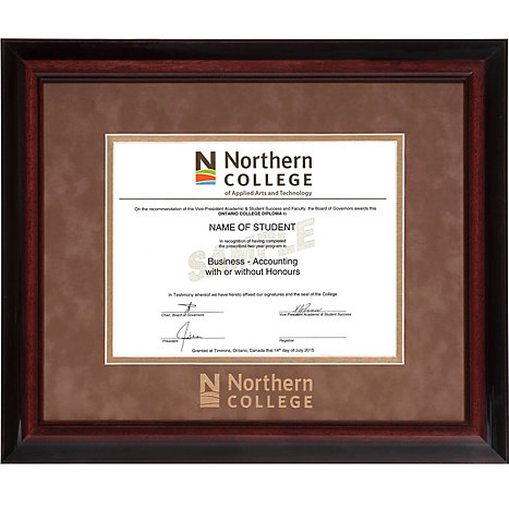 Northern College Suede Mat 15 in. x 18 in. Executive Diploma Frame ...