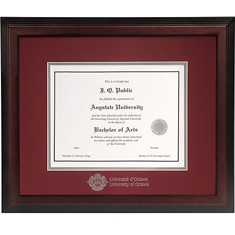 University of Ottawa Double Mat 15 in. x 18 in. Linear Diploma Frame ...